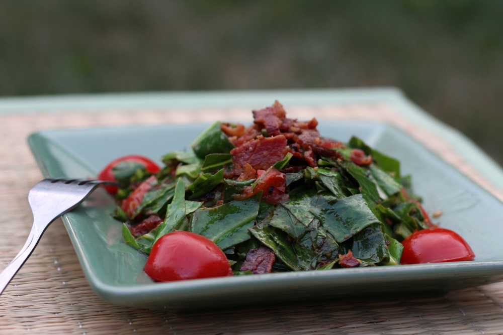 Collard Greens with Bacon and Tomato