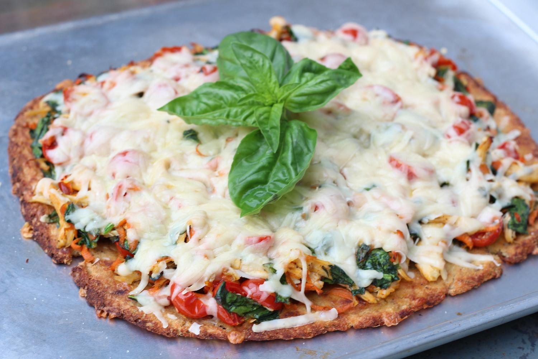Shredded Chicken and Veggie Pizza with Cauliflower Crust