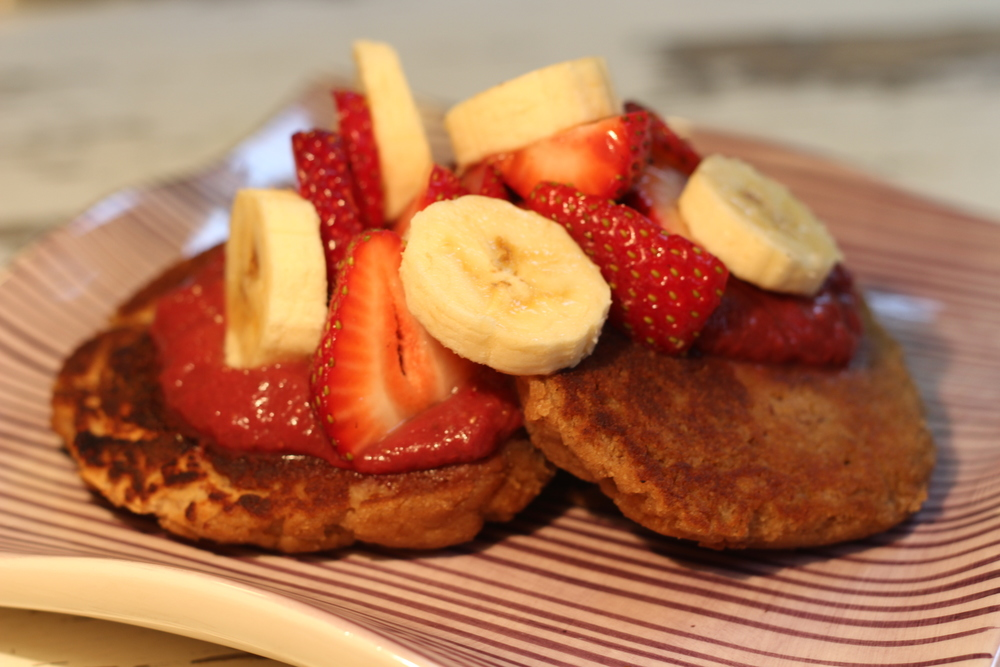 Banana Paleo Pancakes with Strawberry Syrup