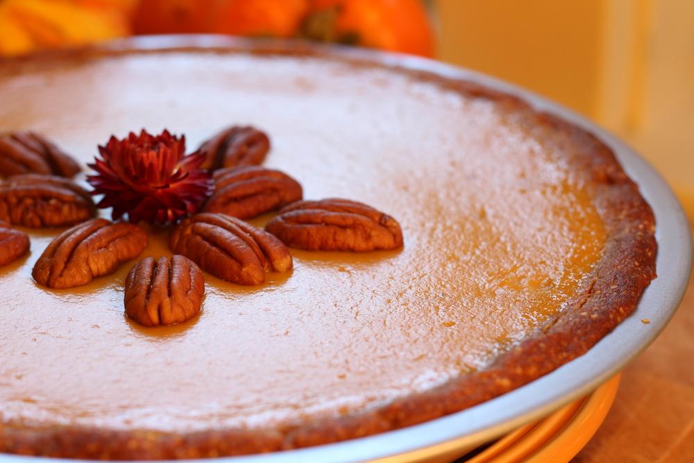 Pumpkin Pie with Cashew Pecan Crust (dairy free, egg free)