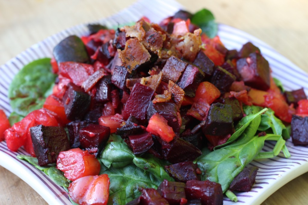Bacon, Beet and Tomato salad-siboodietrecipes