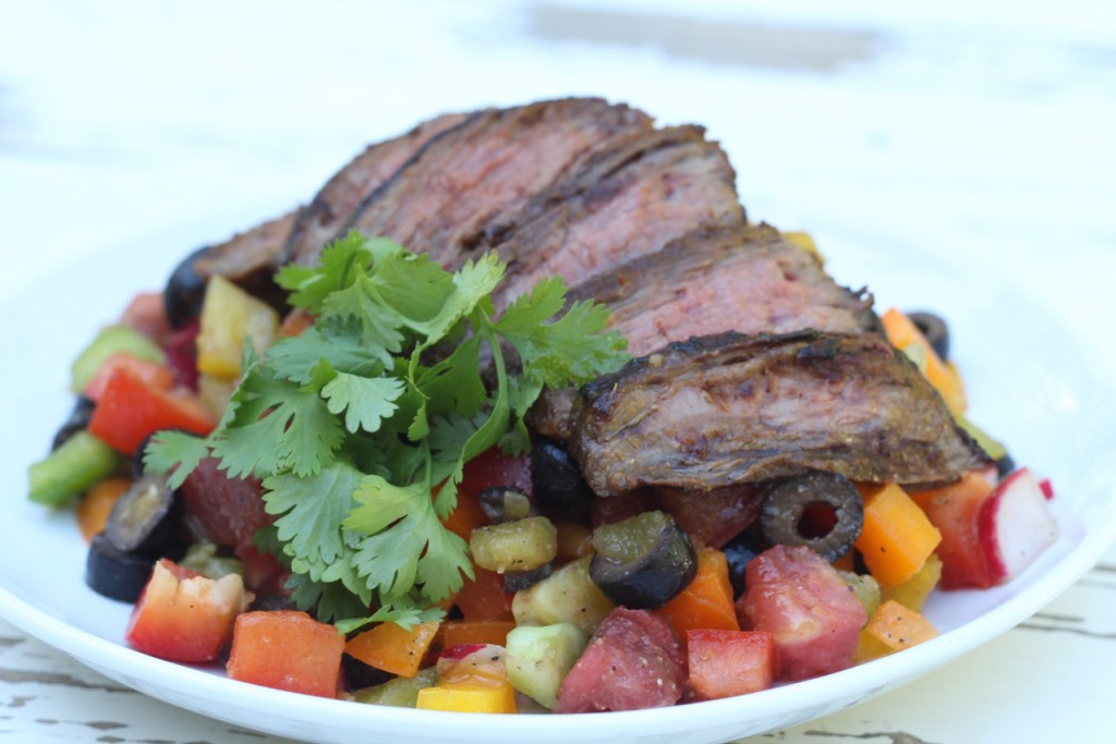 Rainbow Mexican Pepper Salad with Flank Steak-SIBOdietrecipes