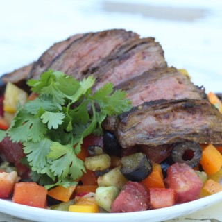 Mexican Rainbow Pepper Salad with Flank Steak